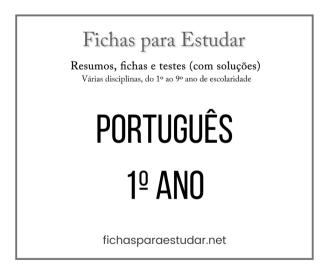fichas e testes de Português 1º ano
